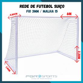 Rede De Futebol Suiço / 6 Metros / Fio 3 Milímetros / Malha 15