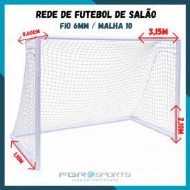 Rede para Futebol De Salão / Fio 6 Milímetros / Malha 10
