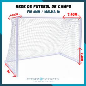 Rede De Futebol De Campo / Fio 6 Milímetros / Malha 16