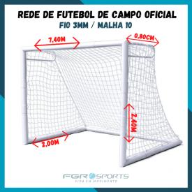 Rede Futebol DE Campo Oficial / Fio 3 Milímetros / Malha 10