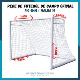 Rede De Futebol De Campo Oficial / Fio 4 Milímetros / Malha 10