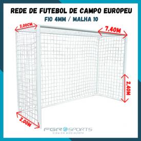 Rede De Futebol De Campo Europeu / Fio 4 Milímetros / Malha 10