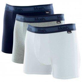 kit 3 cuecas boxer cotton azul marinho mash 11025