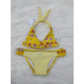 Conjunto Biquíni Infantil Tradicional amarelo