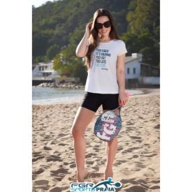 camiseta feminina de beach tennis branca let s go