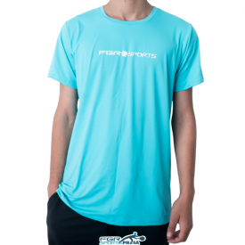 camiseta masculina azul com protecao